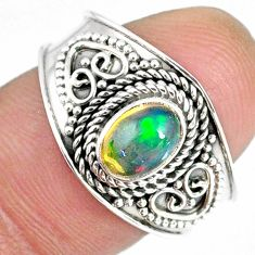 1.56cts natural ethiopian opal 925 sterling silver solitaire ring size 8 r59013