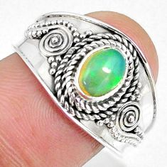 1.60cts natural ethiopian opal 925 sterling silver solitaire ring size 8 r59043