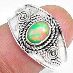 1.53cts natural ethiopian opal 925 sterling silver solitaire ring size 8 r59056