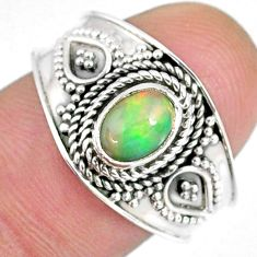1.54cts natural ethiopian opal 925 sterling silver solitaire ring size 8 r59066