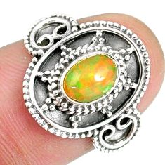 1.39cts natural ethiopian opal 925 sterling silver solitaire ring size 8 r59071