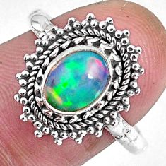 2.08cts natural ethiopian opal 925 sterling silver solitaire ring size 8 r59091