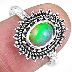 2.12cts natural ethiopian opal 925 sterling silver solitaire ring size 8 r59094