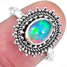 2.09cts natural ethiopian opal 925 sterling silver solitaire ring size 8 r59099
