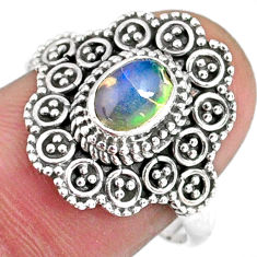 1.45cts natural ethiopian opal 925 sterling silver solitaire ring size 8 r59112