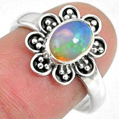 2.17cts natural ethiopian opal 925 sterling silver solitaire ring size 8 r59126