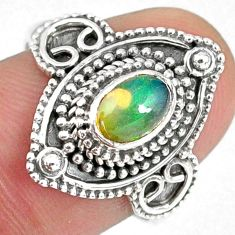 1.54cts natural ethiopian opal 925 sterling silver solitaire ring size 8 r59147