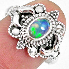 1.47cts natural ethiopian opal 925 sterling silver solitaire ring size 8 r59174