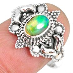 1.62cts natural ethiopian opal 925 sterling silver solitaire ring size 8 r59322