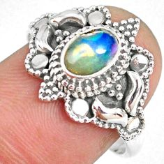 1.47cts natural ethiopian opal 925 sterling silver solitaire ring size 8 r59325
