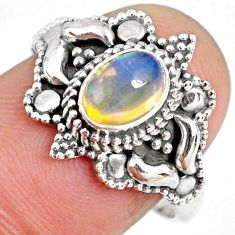 1.47cts natural ethiopian opal 925 sterling silver solitaire ring size 8 r59326