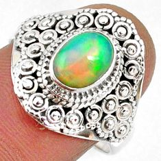 2.13cts natural ethiopian opal 925 sterling silver solitaire ring size 8 r61149
