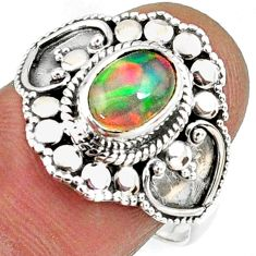 2.02cts natural ethiopian opal 925 sterling silver solitaire ring size 8 r61152