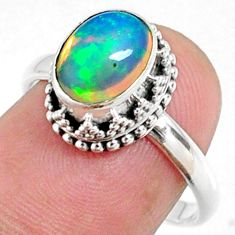 3.11cts natural ethiopian opal 925 sterling silver solitaire ring size 8 r64488