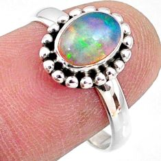 2.42cts natural ethiopian opal 925 sterling silver solitaire ring size 8 r64591