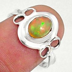 2.03cts natural ethiopian opal 925 sterling silver solitaire ring size 8 r68570