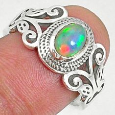 1.66cts natural ethiopian opal 925 sterling silver solitaire ring size 8 r68589