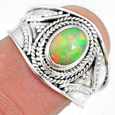 2.09cts natural ethiopian opal 925 sterling silver solitaire ring size 8 r69002
