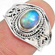 1.96cts natural ethiopian opal 925 sterling silver solitaire ring size 8 r69009
