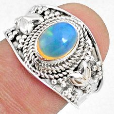 2.14cts natural ethiopian opal 925 sterling silver solitaire ring size 8 r69010