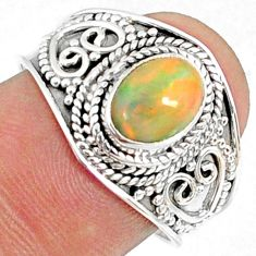 2.17cts natural ethiopian opal 925 sterling silver solitaire ring size 8 r69022