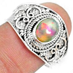 2.05cts natural ethiopian opal 925 sterling silver solitaire ring size 8 r69027