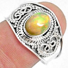 2.17cts natural ethiopian opal 925 sterling silver solitaire ring size 8 r69028