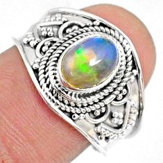 2.05cts natural ethiopian opal 925 sterling silver solitaire ring size 8 r69039