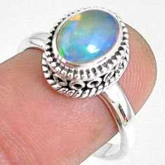 2.13cts natural ethiopian opal 925 sterling silver solitaire ring size 8 r75355