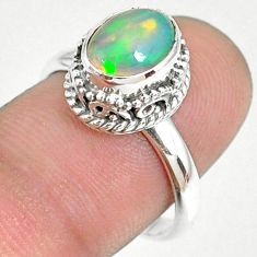 2.97cts natural ethiopian opal 925 sterling silver solitaire ring size 8 r75368