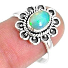 1.96cts natural ethiopian opal 925 sterling silver solitaire ring size 8 r75381