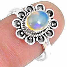 2.08cts natural ethiopian opal 925 sterling silver solitaire ring size 8 r75390