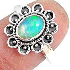 2.05cts natural ethiopian opal 925 sterling silver solitaire ring size 8 r75392
