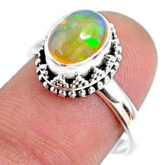 2.98cts natural ethiopian opal 925 sterling silver solitaire ring size 8 r75405