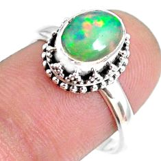 2.81cts natural ethiopian opal 925 sterling silver solitaire ring size 8 r75409