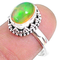 2.98cts natural ethiopian opal 925 sterling silver solitaire ring size 8 r75413