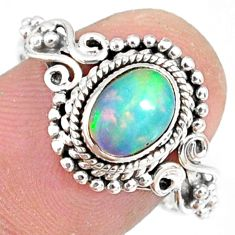 2.01cts natural ethiopian opal 925 sterling silver solitaire ring size 8 r82311