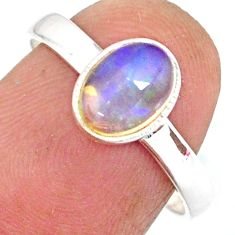 2.03cts natural ethiopian opal 925 sterling silver solitaire ring size 8 r83731