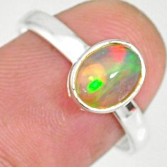 2.08cts natural ethiopian opal 925 sterling silver solitaire ring size 8 r83962