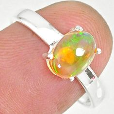 2.08cts natural ethiopian opal 925 sterling silver solitaire ring size 8 r83982