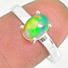 2.28cts natural ethiopian opal 925 sterling silver solitaire ring size 8 r83997