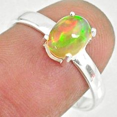 2.37cts natural ethiopian opal 925 sterling silver solitaire ring size 8 r84007