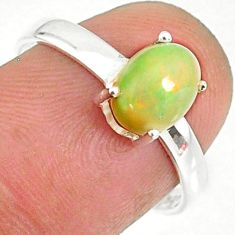 2.28cts natural ethiopian opal 925 sterling silver solitaire ring size 8 r84009