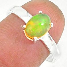 2.28cts natural ethiopian opal 925 sterling silver solitaire ring size 8 r84013