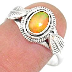 1.42cts natural ethiopian opal 925 sterling silver solitaire ring size 8 r85469