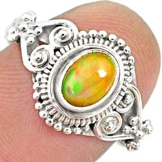 1.46cts natural ethiopian opal 925 sterling silver solitaire ring size 8 r85471