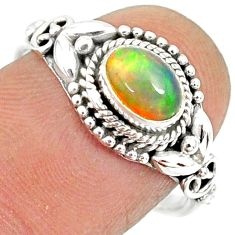1.48cts natural ethiopian opal 925 sterling silver solitaire ring size 8 r85482