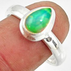 2.46cts natural ethiopian opal 925 sterling silver solitaire ring size 9 r26266