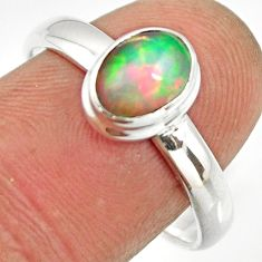 2.17cts natural ethiopian opal 925 sterling silver solitaire ring size 9 r26271