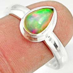 2.56cts natural ethiopian opal 925 sterling silver solitaire ring size 9 r26275